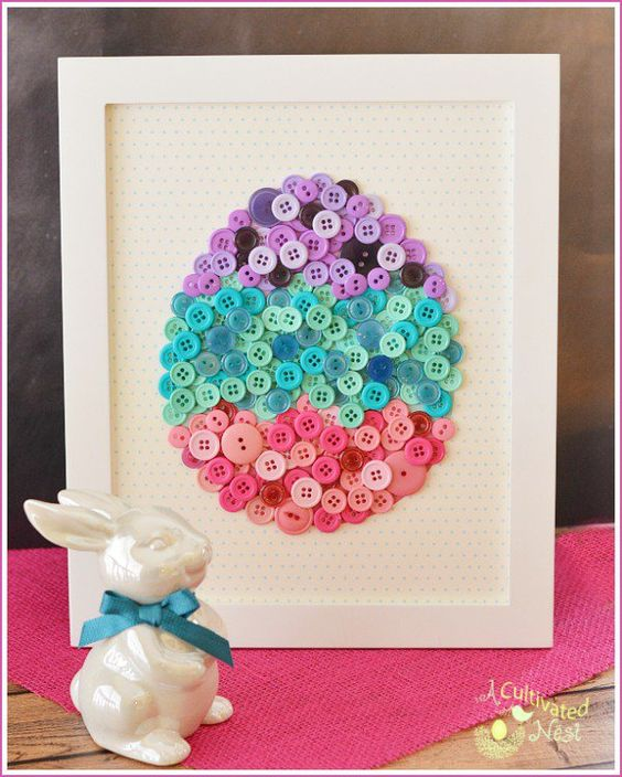 DIY Easter Button Craft with free Template.  This pretty framed DIY button egg is easy to make and will look so cute as part of your spring and Easter decor!   Button Crafts