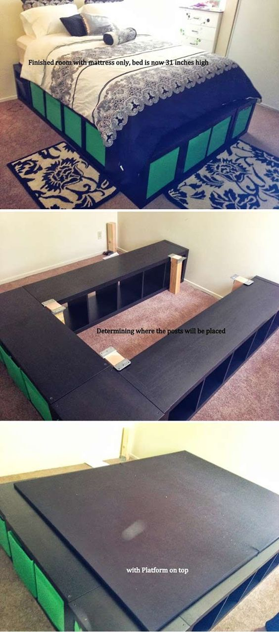 Expedit Queen Platform Bed | Creative Pieces Of Wood For A New Bedroom With A Storage