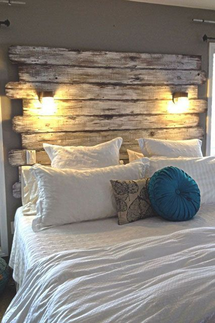 These Are The Most-Pinned Images Right Now Top Pin For Home Decor: Wood HeadboardFolks go crazy over ways to DIY the bedroom on a budget. For instance, this wood-plank headboard is a must-copy.