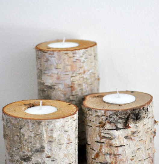 log candle holders 12 diy log decorating ideas for your home and garden - Christmas Log Candle Holder Decorations