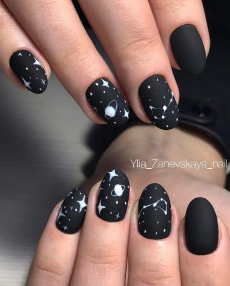 40 Pretty Matte Black Nails to Inspire You