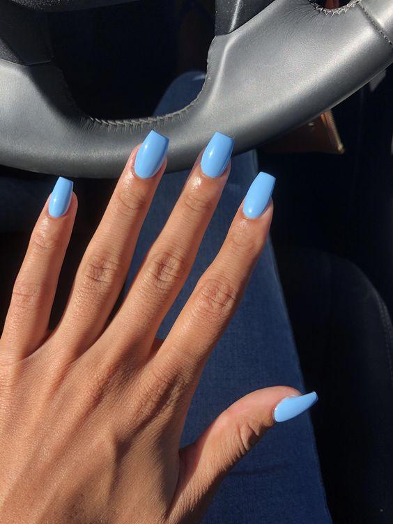 Light Blue Acrylic Nails Oval