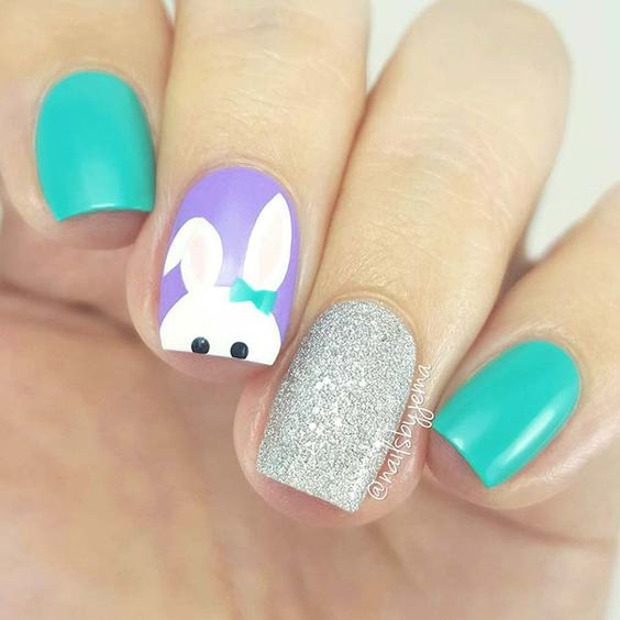 42 Cute Easter Nail Art Designs You Have to Try This Spring; Easter nails; spring nails; cute easter nail art. #springnails #cutenails