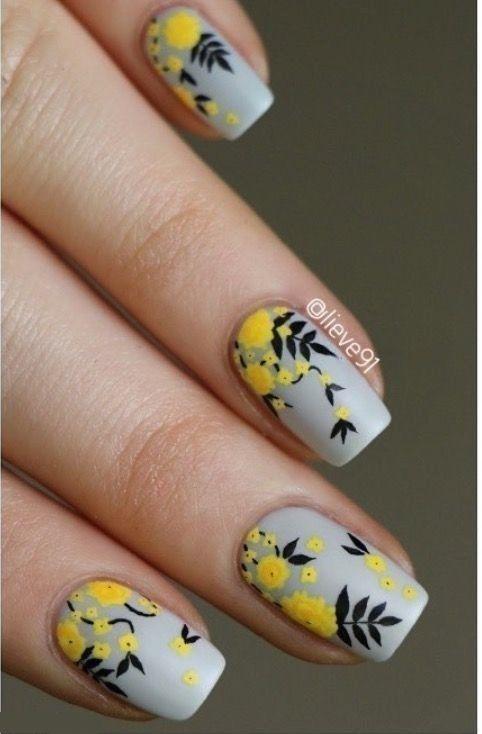 56 Elegant Spring Floral Nail Art Designs; spring nails; spring floral nails; flower nails; simple spring nails; spring nail colors; short spring nails.
