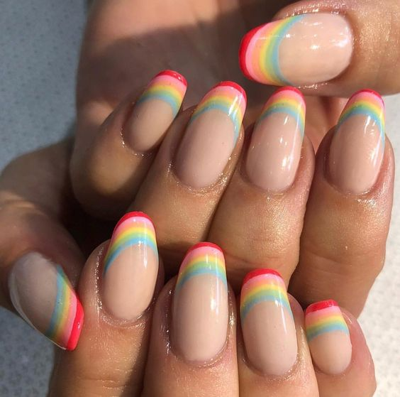 50 Stunning Rainbow Nail Art Designs and Ideas