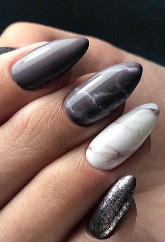63 Stunning Marble Acrylic Nails Art Designs; Marble Nails; Acrylic Nails #AcrylicNails