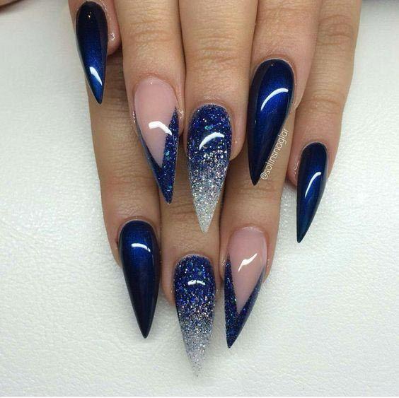 34 Stunning Blue Sparkle Nails Art Designs