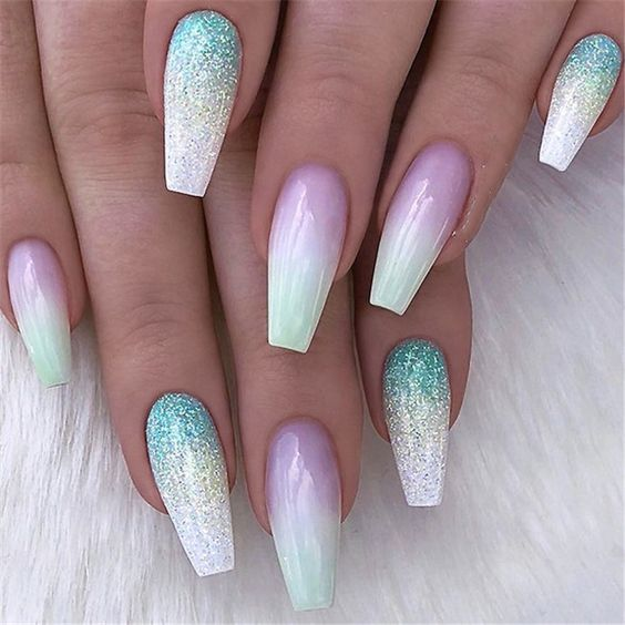 36 Awesome Ombre Nails Coffin Glitter Art Designs in 2019