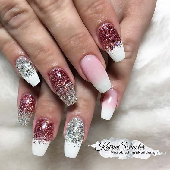 36 Awesome Ombre Nails Coffin Glitter Art Designs in 2019; Ombre Nails; Coffin Nails;
