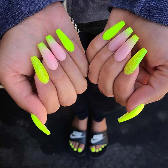77 Stunning Yellow Neon Nail Art Designs and Ideas – Page 25 – Tiger ...