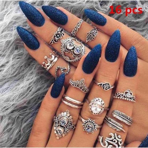 46 Elegant Navy Blue Nails Art Designs and Ideas