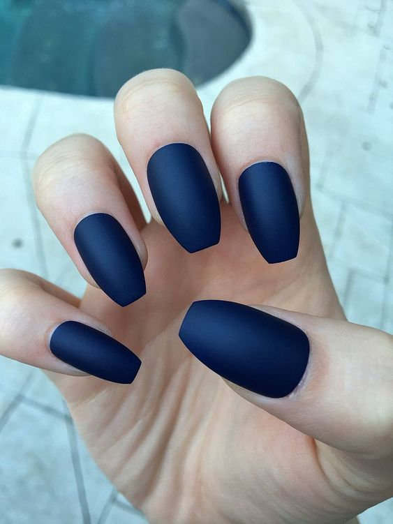 46 Elegant Navy Blue Nails Art Designs and Ideas