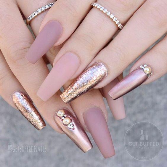 60 Elegant Rose Gold Nail Art Designs for 2019 \u2013 Page 54