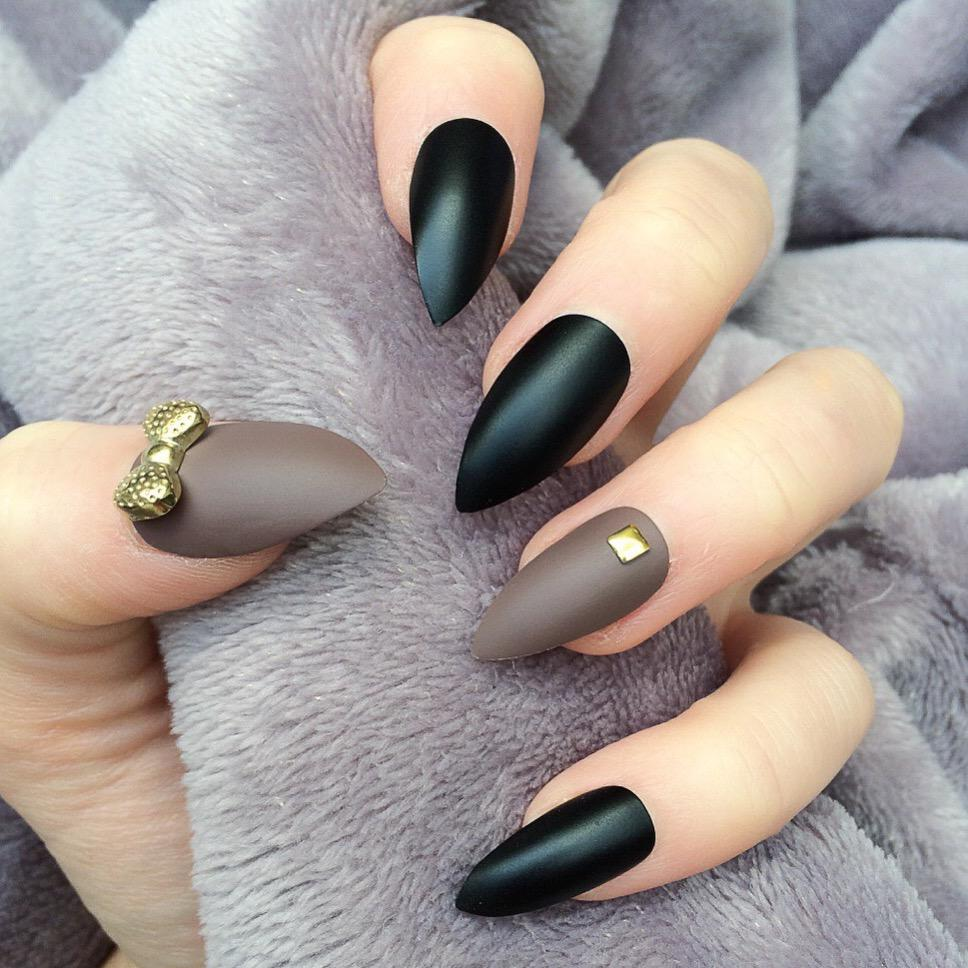45 Awesome Black Almond Matte Nail Designs to Inspire You