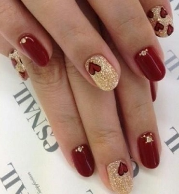40 Awesome Red and Gold Nail Designs for Holidays