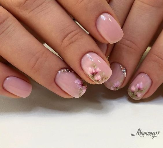 53 Awesome Cherry Blossom Nail Art Designs and Ideas