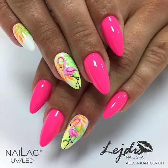 46 Pretty Flamingo Nail Art Design Ideas