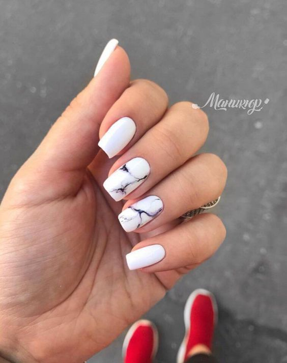 31 Stylish Marble Square Nail Designs