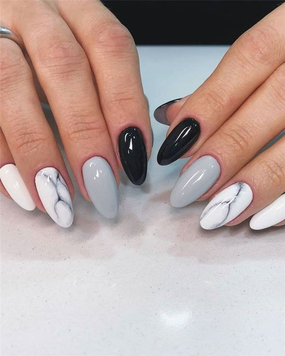 33 Stylish Marble Almond Nail Designs