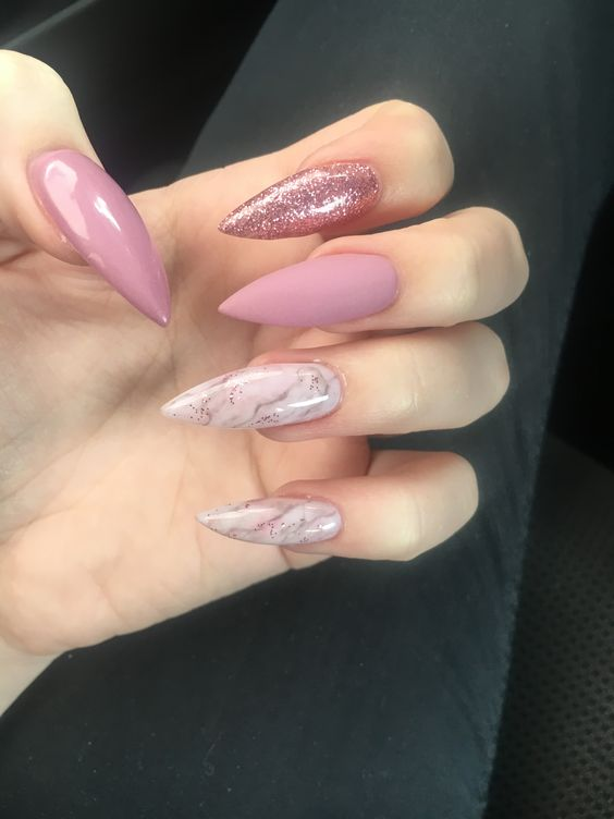 35 Gorgeous Marble Stiletto Nail Designs