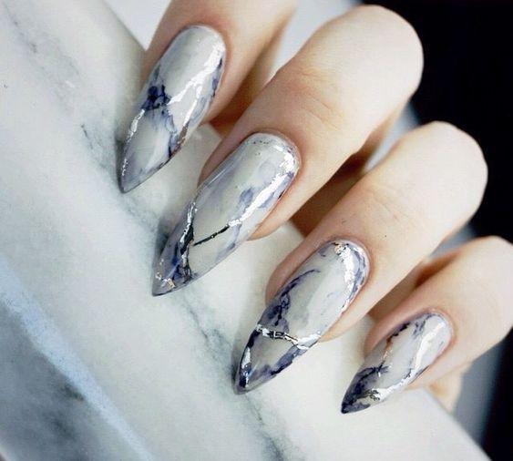 35 Gorgeous Marble Stiletto Nail Designs