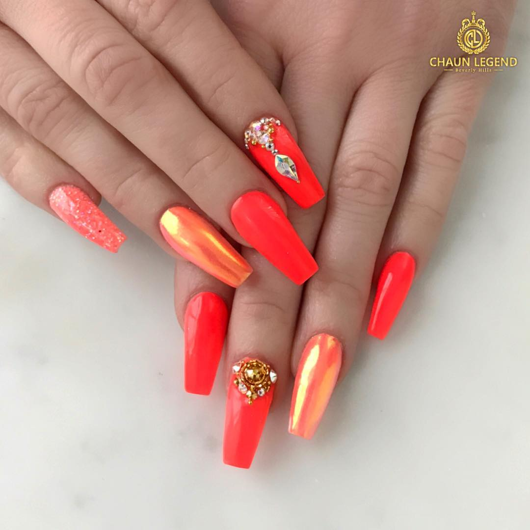 59 Pretty Orange Nail Art Designs