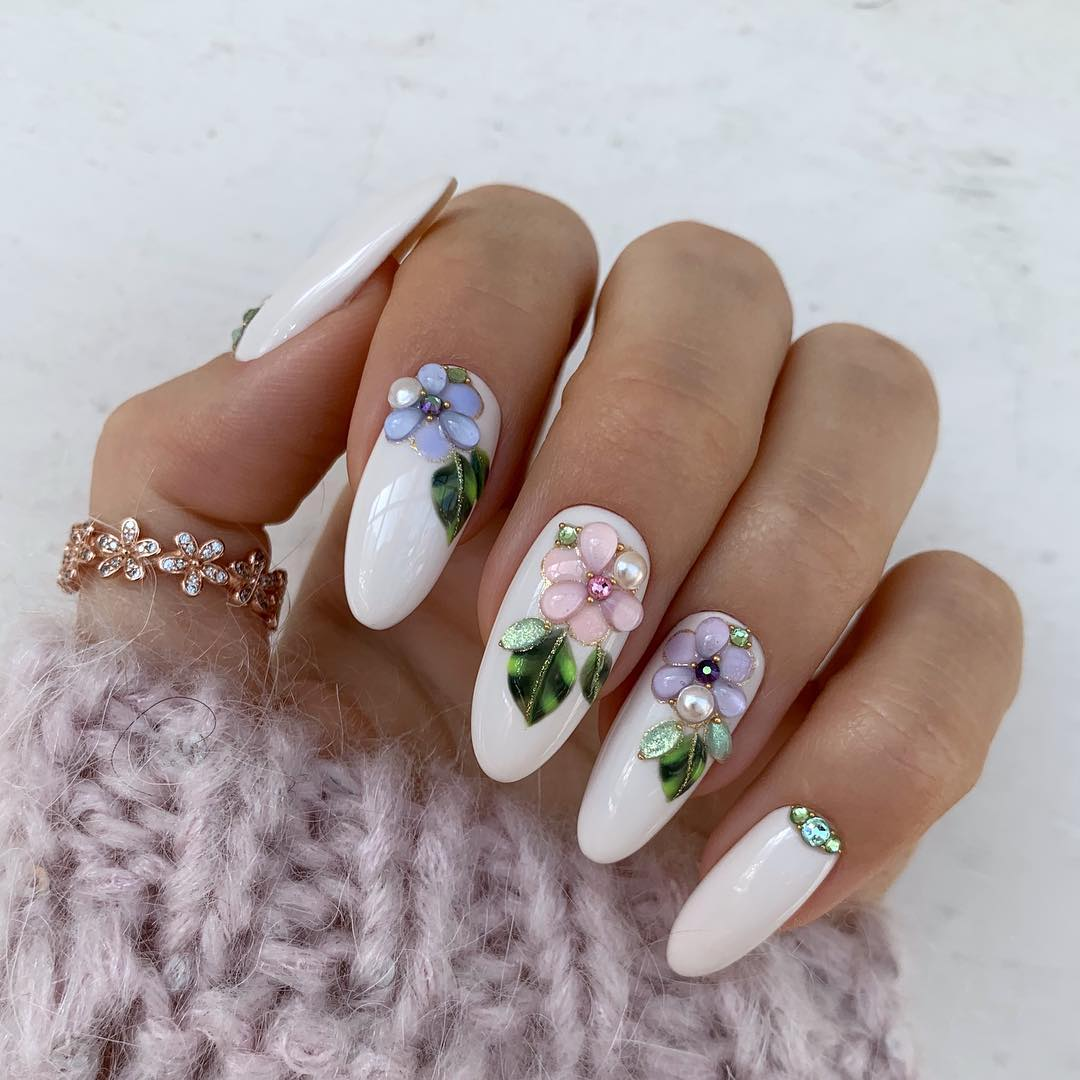 65 Pretty 3D Flower Nail Art Designs