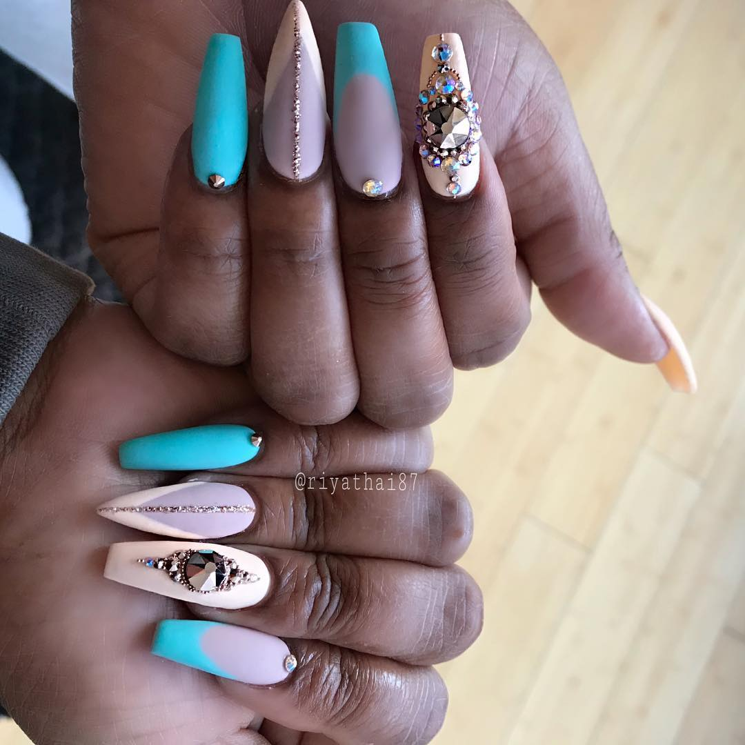 46 Pretty Stiletto Coffin Nail Art Designs