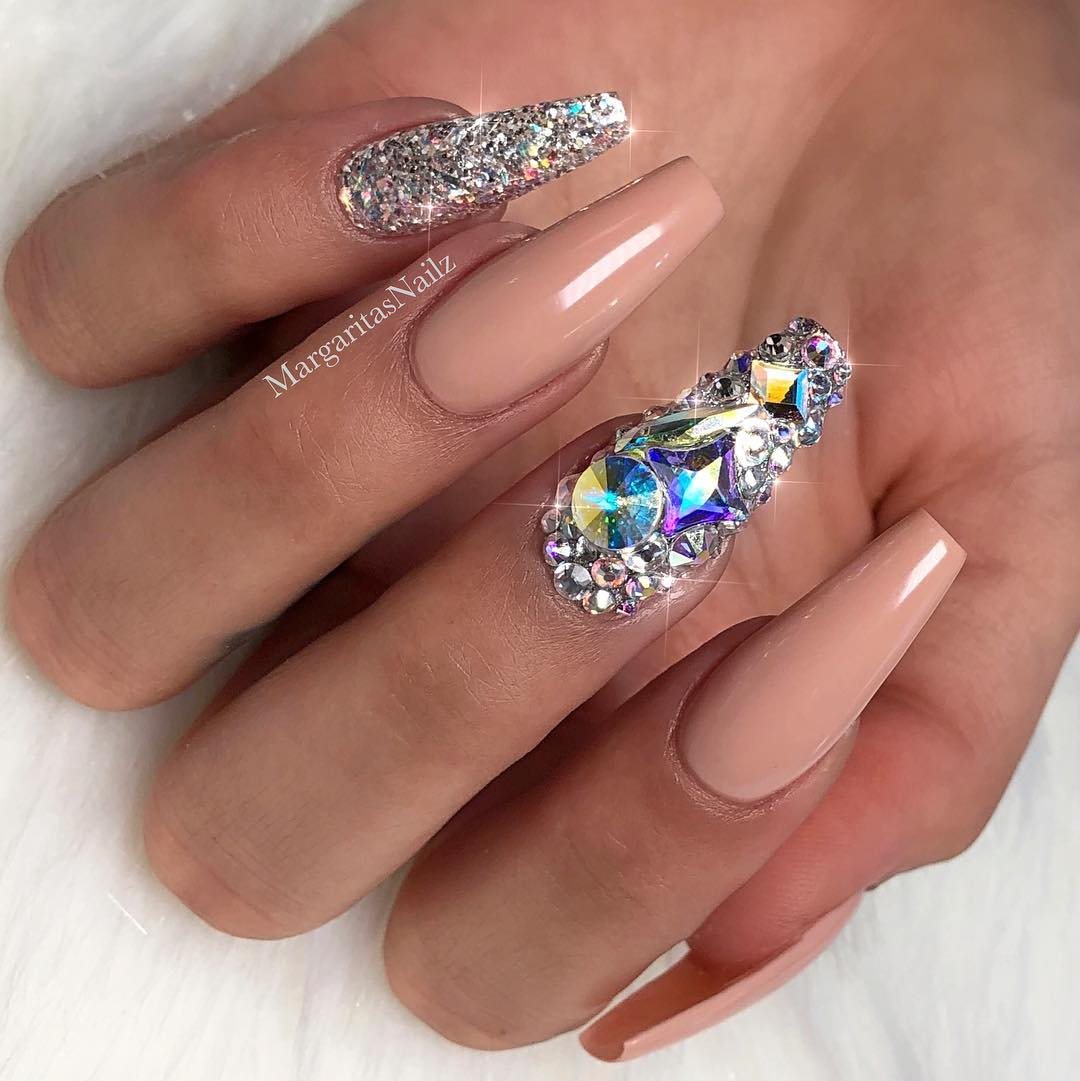 70 Awesome Coffin Nails With Rhinestones