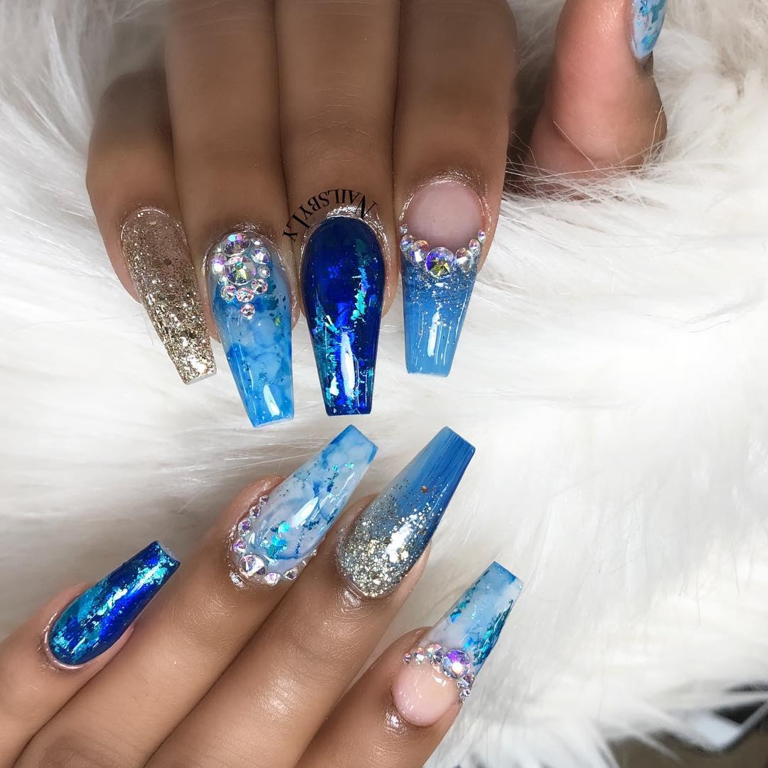 54 Dark Blue Nail Art Designs Ideas