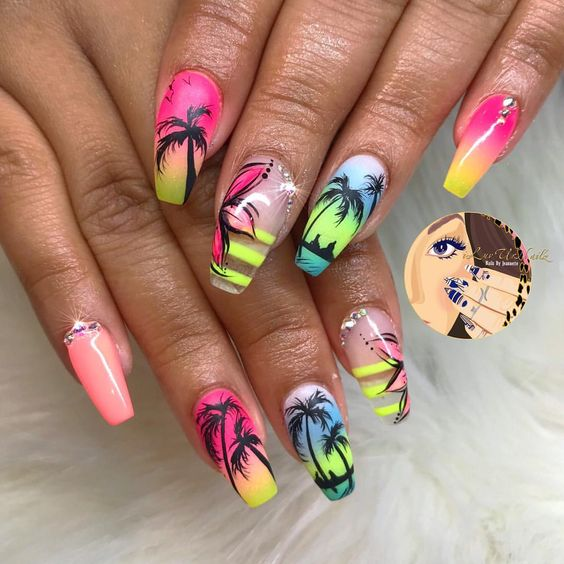 59 Amazing Palm Tree Nail Designs For Summer – Page 18 – Tiger Feng