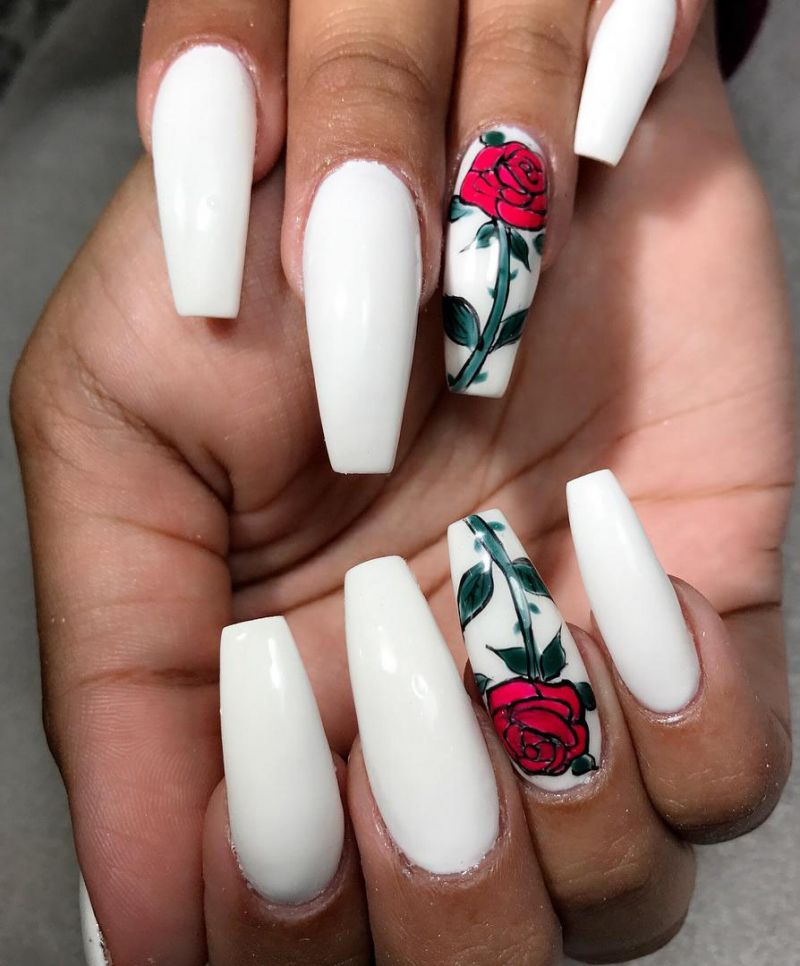 40 Lovely Rose Nail Art Designs to Fall In Love With