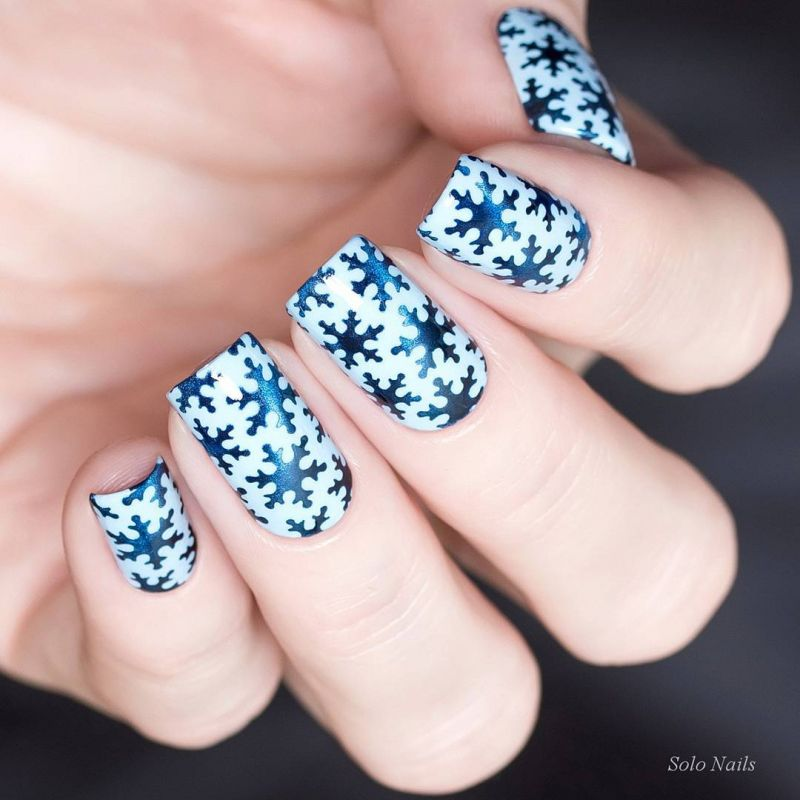 40 Cute Snowflake Nail Art Designs For Winter