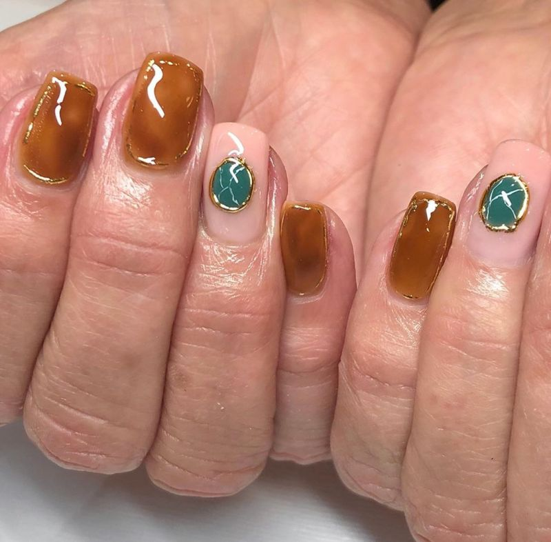 83 Elegant Amber Nails To Inspire You