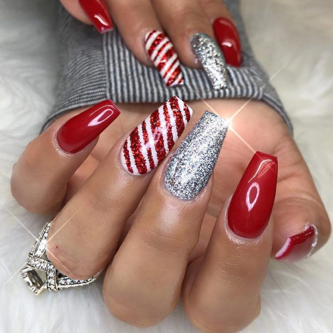 50 Trendy Christmas Candy Cane Nails To Make You Happy