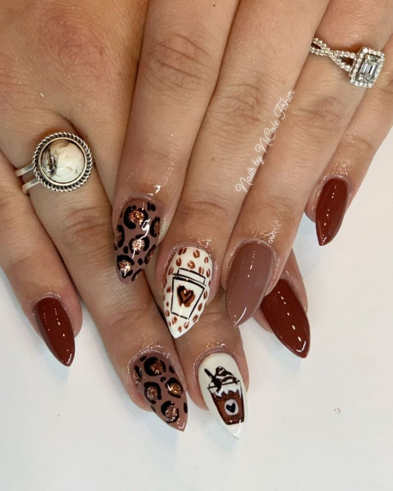 50 Pretty Coffee Nail Art Designs to Express Your Personality