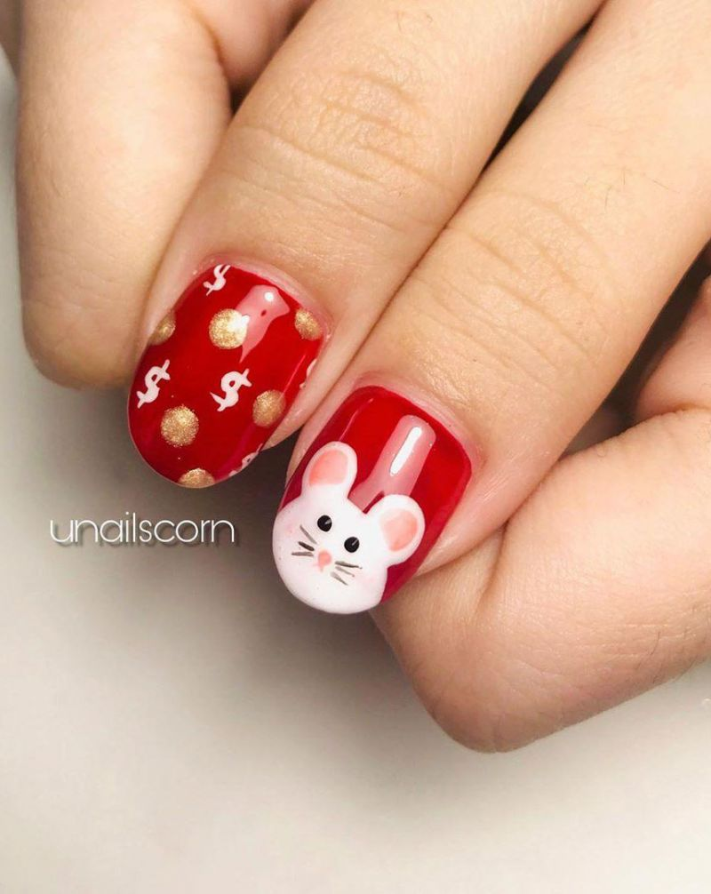 51 Cute Rat Nail Art Designs for Chinese New Year 2020