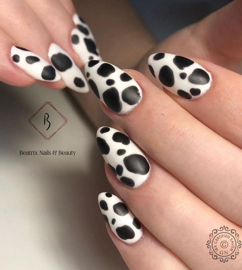 55 Fantastic Cow Print Nail Art Designs You Will love