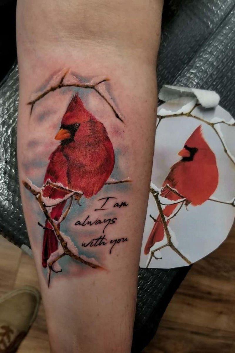 55 Pretty Cardinal Tattoos You Must Love