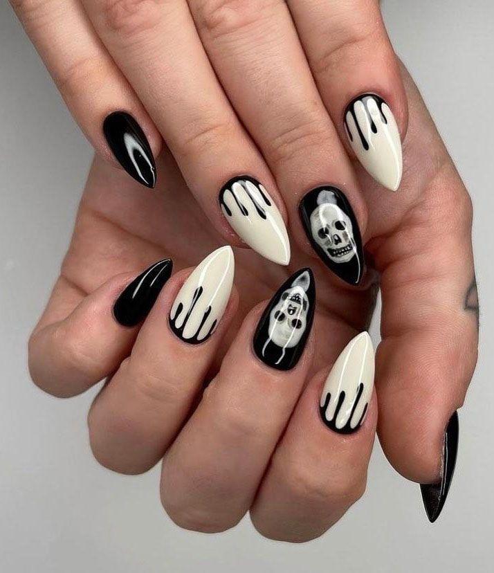 30 Trendy Skull Nail Art Designs for Halloween 2021