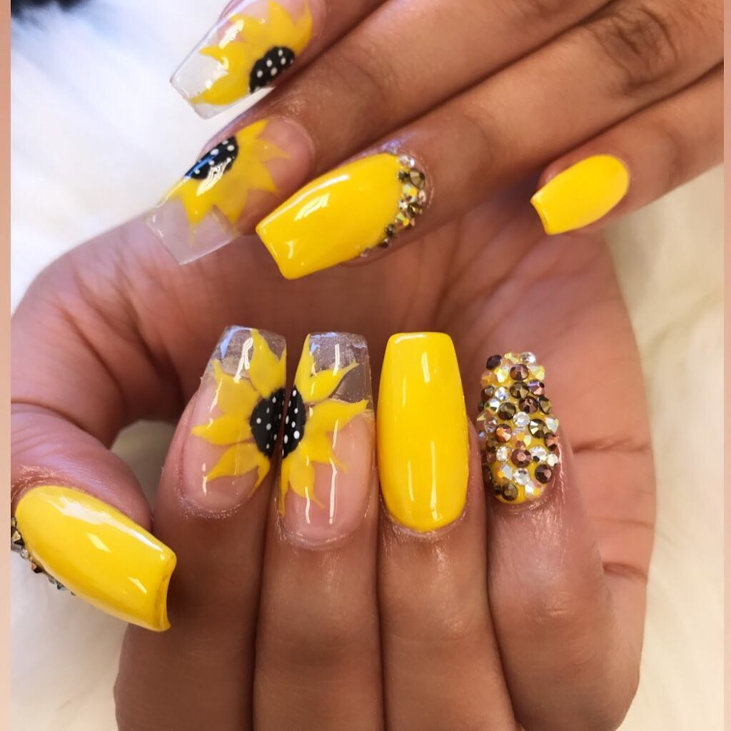 50 Amazing Sunflower Nail Designs For Summer Page 31 Tiger Feng